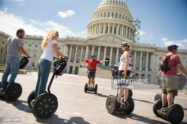 Adam Plescia leads a segway tour on the east front plaza of the Capitol