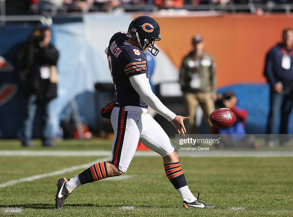 <a gi-track='captionPersonalityLinkClicked' href=/galleries/search?phrase=Adam+Podlesh&family=editorial&specificpeople=4133195 ng-click='$event.stopPropagation()'>Adam Podlesh</a> #8 of the Chicago Bears punts against the Detroit Lions at Soldier Field on November 10, 2013 in Chicago, Illinois. The Lions defeated the Bears 21-19.