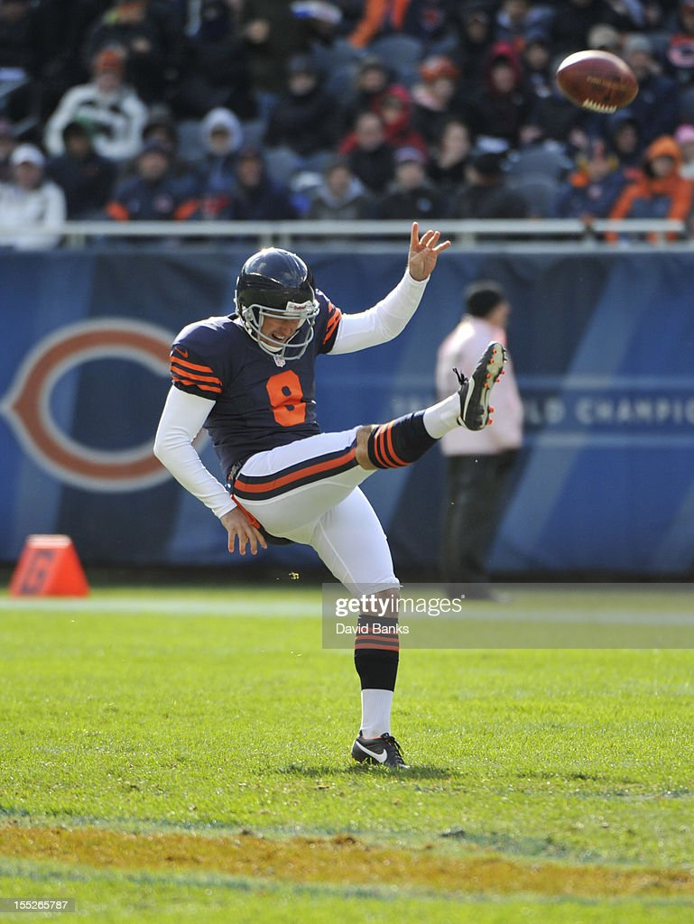 Adam Podlesh #8 of the Chicago Bears punts the ball against the Carolina Panthers on October 28, 2012 at Soldier Field in Chicago, Illinois.