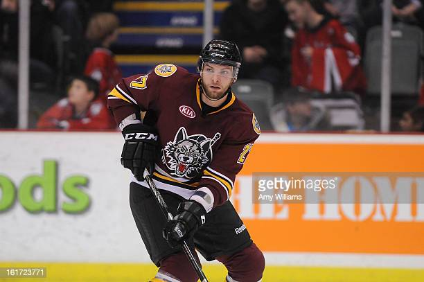 Adam Polasek of the Chicago Wolves waits for a pass at Abbotsford Entertainment and Sports Centre on January 11 2013 in Abbotsford Canada