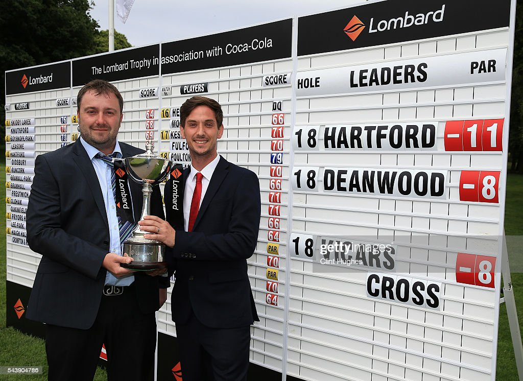 Adam Powell (L) and Matthew Leach of Hartford Golf Club pose for a photo after winning the PGA National Pro-Am North Qualifier at Dunham Forest Golf Club on June 30, 2016 in Altrincham, England