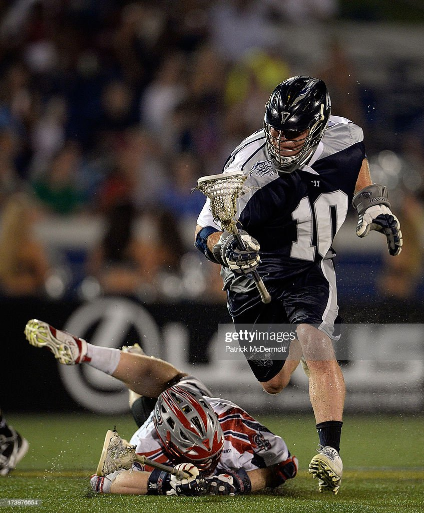 Adam Rand #10 of Chesapeake Bayhawks runs up field during a game against the Boston Cannons at Navy-Marine Corps Memorial Stadium on July 18, 2013 in Annapolis, Maryland.