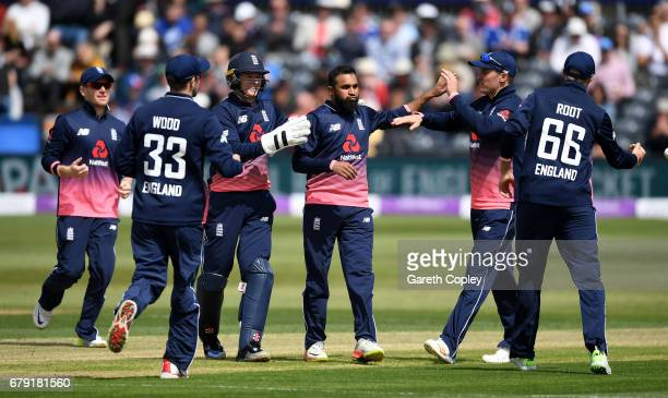 Adam Rashid of England celebrates dismissing Kevin O'Brien of Ireland during the Royal London One Day International between England and Ireland at...