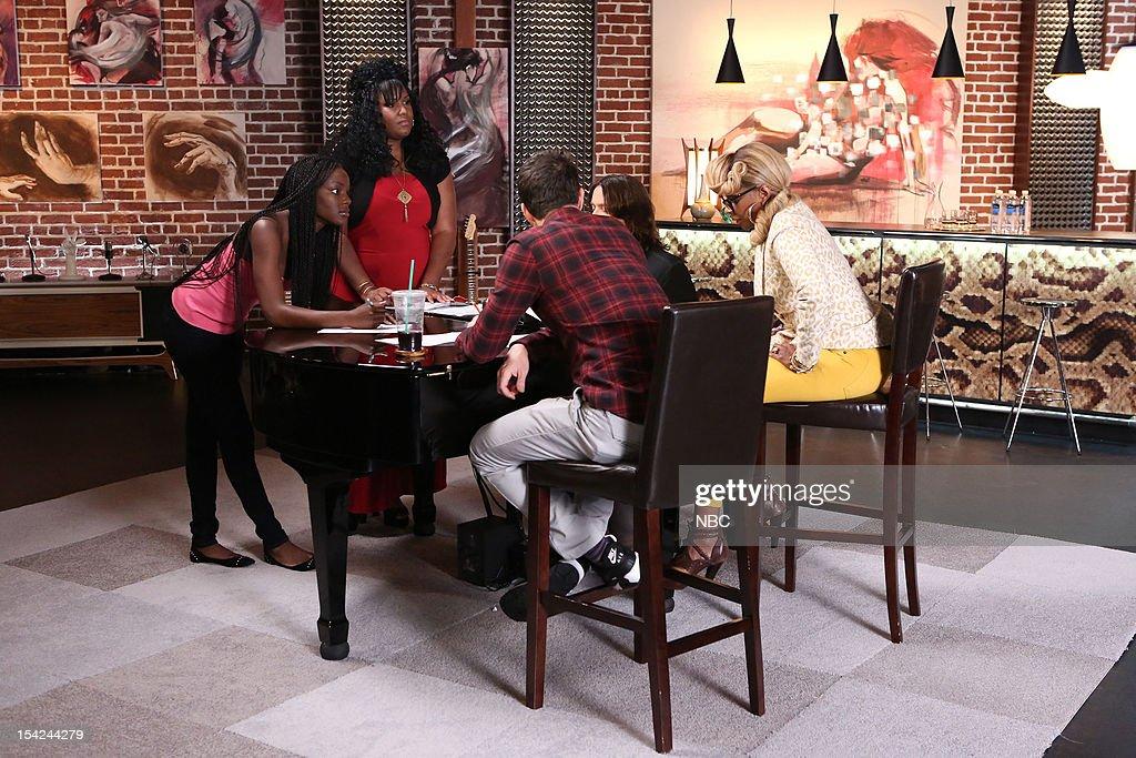 THE VOICE -- 'Adam Reality' Episode 312 -- Pictured: (l-r) Adana Duru, Michelle Thompson, Adam Levine, Mary J. Blige --