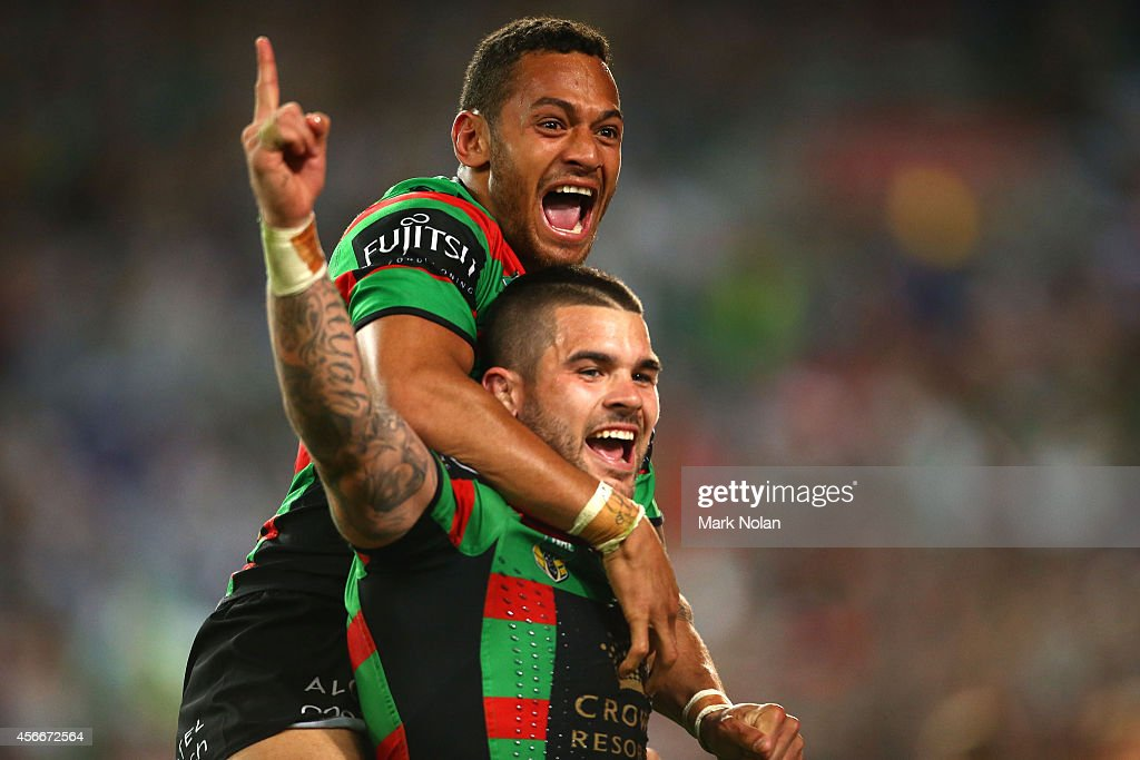Adam Reynolds and Apisai Koroisau of the Rabbitohs celebrate after a try during the 2014 NRL Grand Final match between the South Sydney Rabbitohs and the Canterbury Bulldogs at ANZ Stadium on October 5, 2014 in Sydney, Australia.