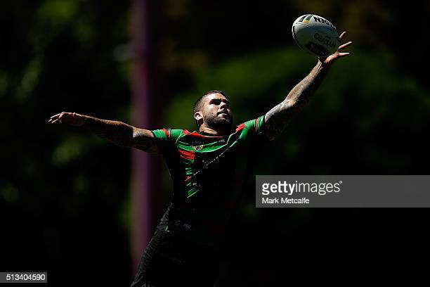 Adam Reynolds in action during a South Sydney Rabbitohs NRL training session at Redfern Oval on March 3 2016 in Sydney Australia