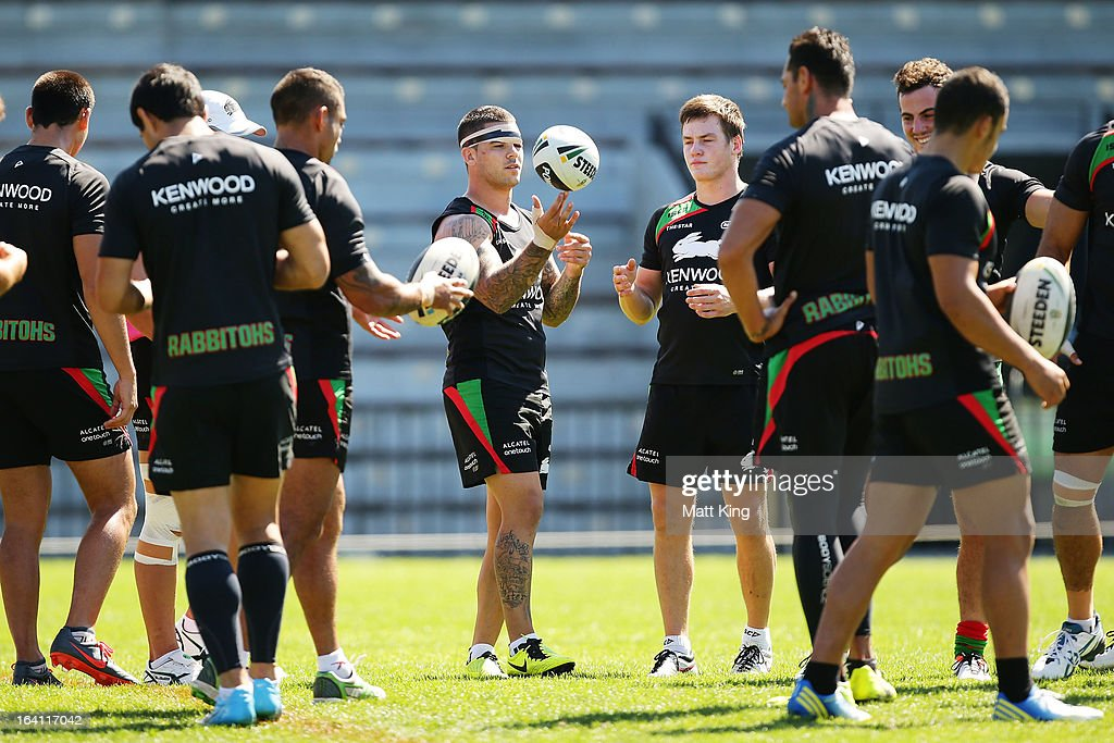 Adam Reynolds (C) looks on during a South Sydney Rabbitohs NRL training session at Redfern Oval on March 20, 2013 in Sydney, Australia.