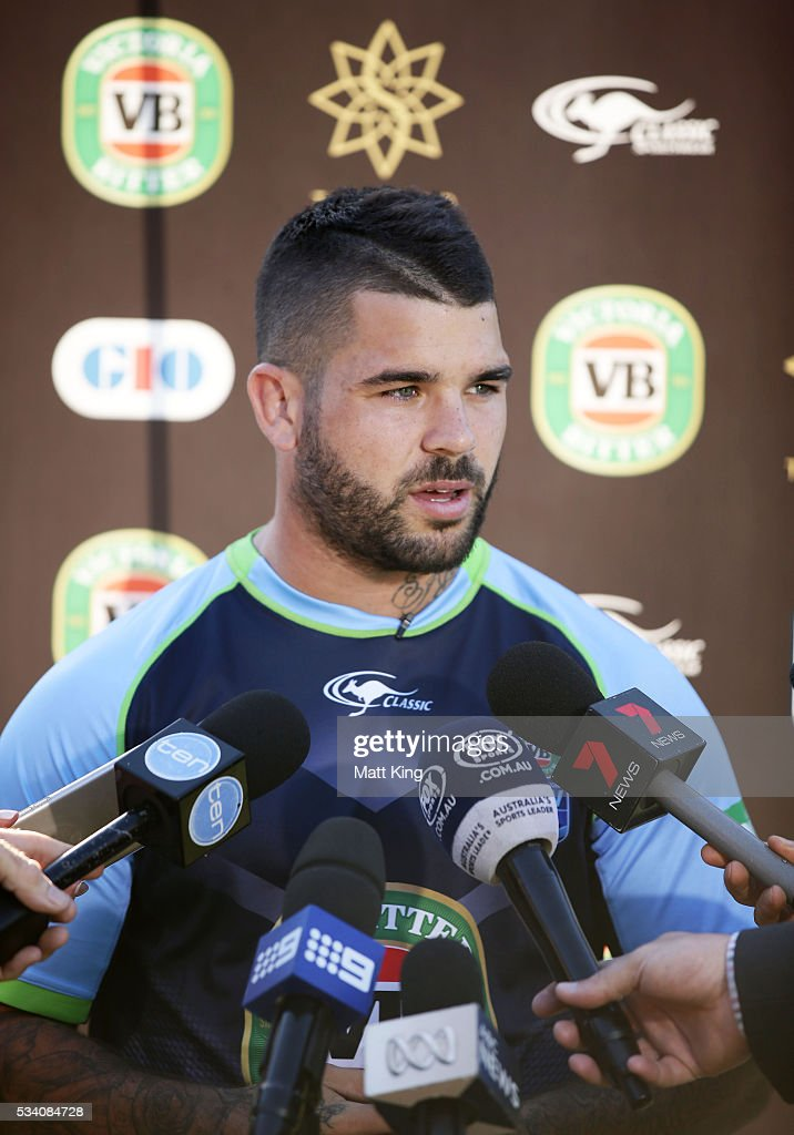 <a gi-track='captionPersonalityLinkClicked' href=/galleries/search?phrase=Adam+Reynolds+-+Rugby+Player&family=editorial&specificpeople=12886494 ng-click='$event.stopPropagation()'>Adam Reynolds</a> of the Blues speaks to the media during a New South Wales Blues State of Origin training session on May 25, 2016 in Coffs Harbour, Australia.