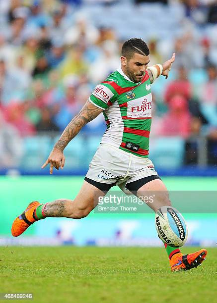 Adam Reynolds of the Rabbitohs attempts a field goal during the round five NRL match between the Canterbury Bulldogs and the South Sydney Rabbitohs...