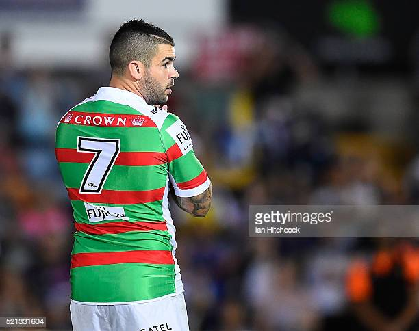 Adam Reynolds of the Rabbitohs looks on before the start of the round seven NRL match between the North Queensland Cowboys and the South Sydney...