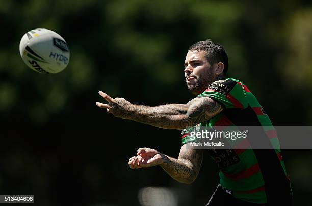 Adam Reynolds passes during a South Sydney Rabbitohs NRL training session at Redfern Oval on March 3 2016 in Sydney Australia