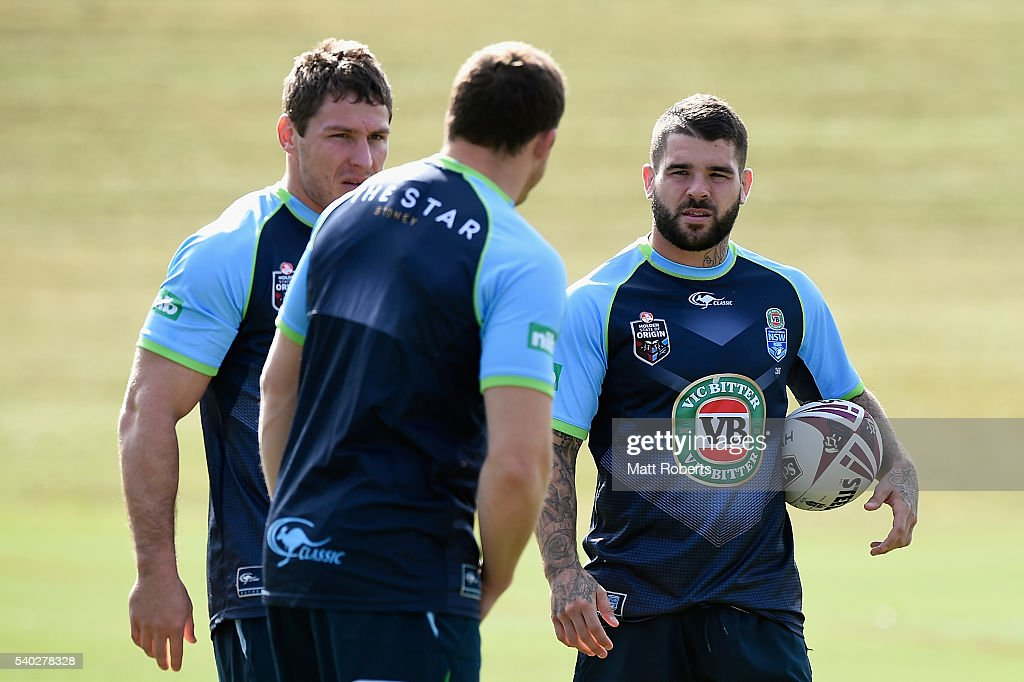 Adam Reynolds speaks with his team mates during a New South Wales Blues State of Origin training session on June 15, 2016 in Coffs Harbour, Australia.