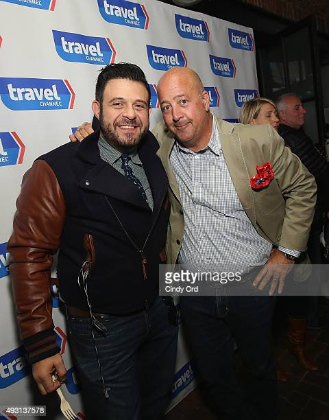 Adam Richman and Andrew Zimmern attend Top Dog A NY Hot Dog Competition Hosted By Andrew Zimmern part of LOCAL presented by Delta Air Lines during...