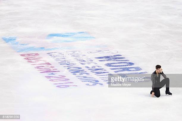 Adam Rippon of the United States celebrates after completing his routine in the Men's Short program during day 3 of the ISU World Figure Skating...