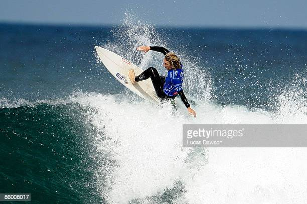 Adam Robertson of Australia surfs against Joel Parkinson of Australia in the Final round of the Rip Curl Pro on April 17 2009 in Bells Beach Australia