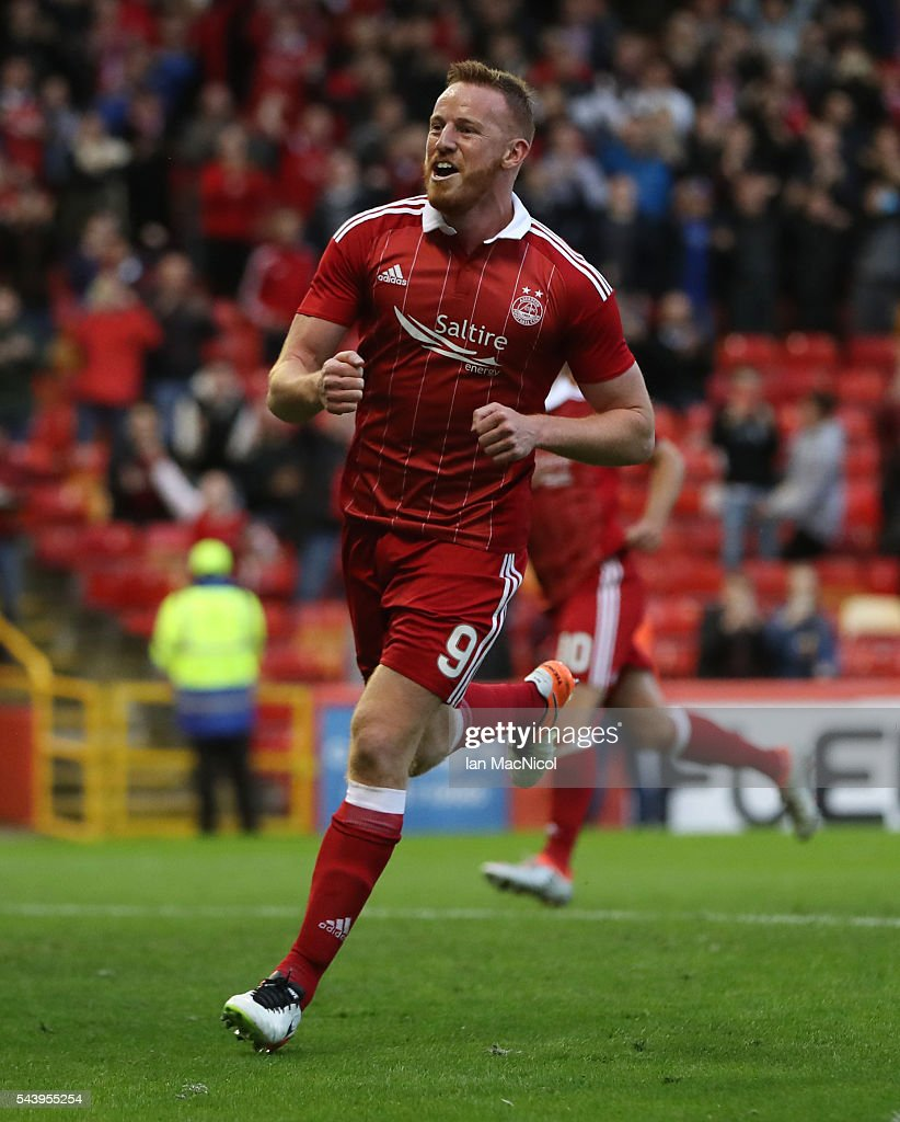 Adam Rooney of Aberdeen celebrates after he scores a penalty during the UEFA Europa League First Qualifying Round, First Leg match between Aberdeen and CS Fola Esch at Pittodrie Stadium on June 30, 2016 in Aberdeen, Scotland.