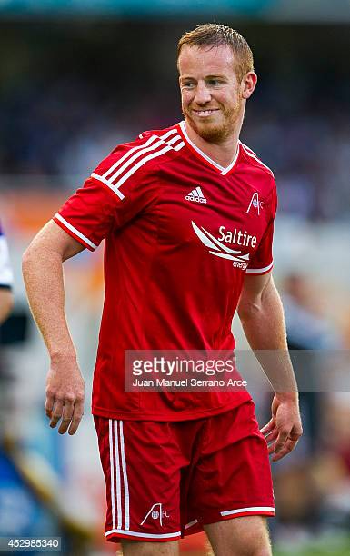 Adam Rooney of Aberdeen FC reacts during the UEFA Europa League third round qualifying first leg match between Real Sociedad and Aberdeen FC at...