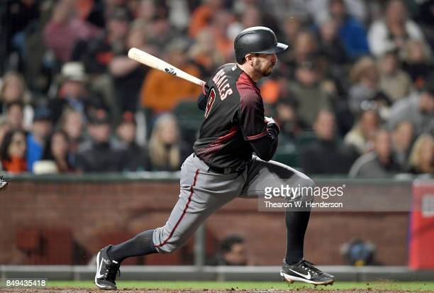 Adam Rosales of the Arizona Diamondbacks bats against the San Francisco Giants in the top of the seventh inning at ATT Park on September 16 2017 in...