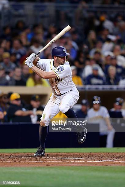 Adam Rosales of the San Diego Padres bats during the game against the Pittsburgh Pirates at Petco Park on Thursday April 21 2016 in San Diego...