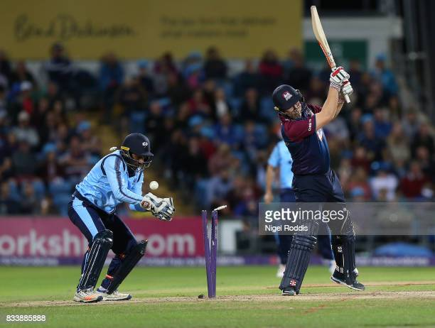 Adam Rossington of Northamptonshire Steelbacks is bowled out by Adil Rashid during the NatWest T20 Blast at Headingley on August 17 2017 in Leeds...
