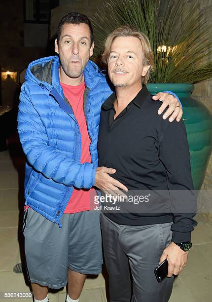 Adam Sandler and David Spade attend WHO Cares About The Next Generation at a private residence on May 31 2016 in Pacific Palisades City