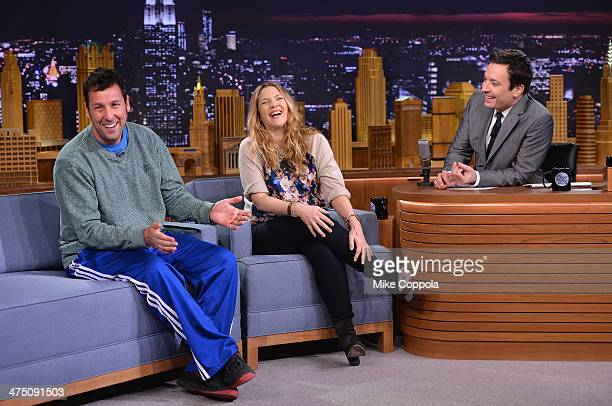 Adam Sandler and Drew Barrymore visit 'The Tonight Show Starring Jimmy Fallon' at Rockefeller Center on February 26 2014 in New York City
