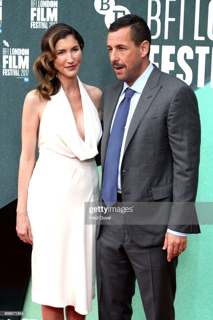 Adam Sandler and Jackie Sandler attend 'The Meyerowitz Stories' UK Premiere during the 61st BFI London Film Festival at Embankment Gardens Cinema on October 6, 2017 in London, England.