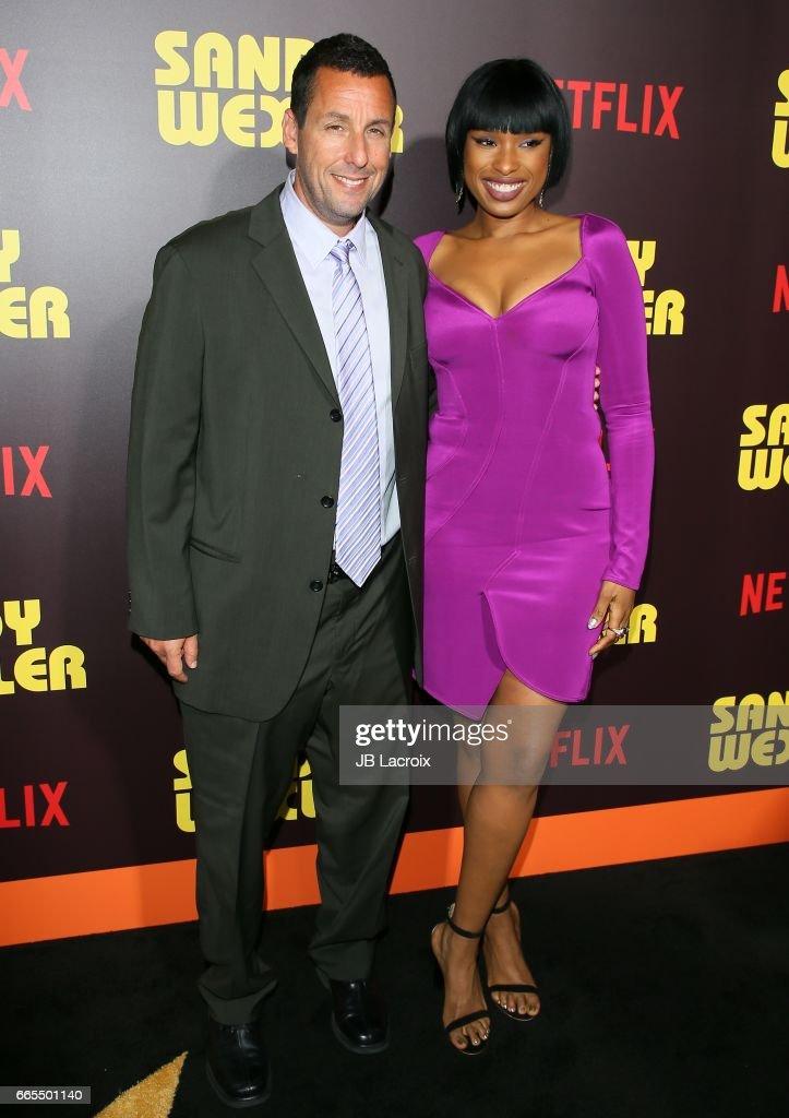 Adam Sandler and Jennifer Hudson attend the premiere of Netflix's 'Sandy Wexler' on April 6, 2017 in Hollywood, California.