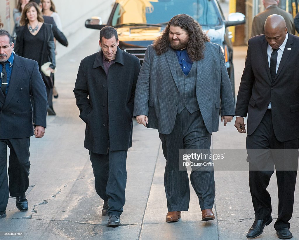 Adam Sandler and Jorge Garcia are seen at 'Jimmy Kimmel Live' on November 30 2015 in Los Angeles California