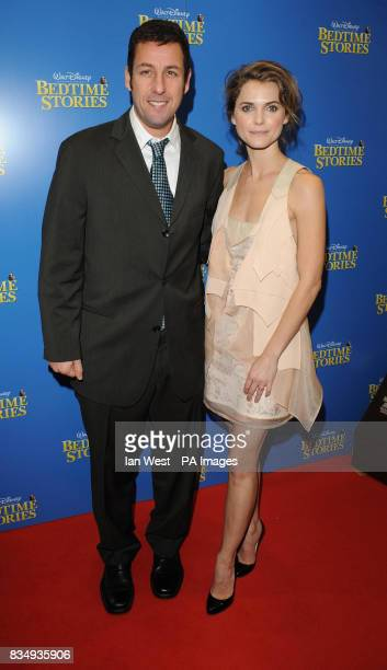 Adam Sandler and Keri Russell arrive at the premiere of Bedtime Stories at the Odeon cinema in Kensington central London