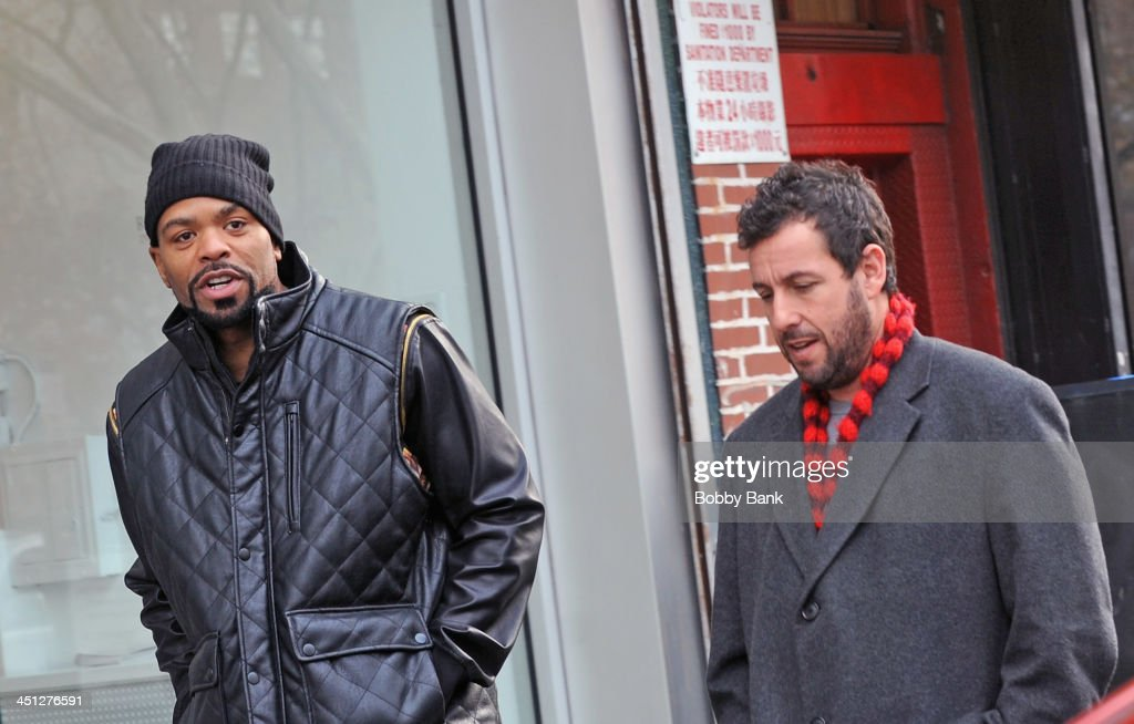 Adam Sandler and Method Man on the set of 'The Cobbler' on November 21 2013 in New York City