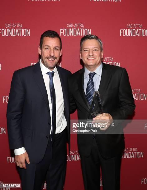 Adam Sandler and Patron of the Artists Award recipient Ted Sarandos attend the SAGAFTRA Foundation Patron of the Artists Awards 2017 at the Wallis...