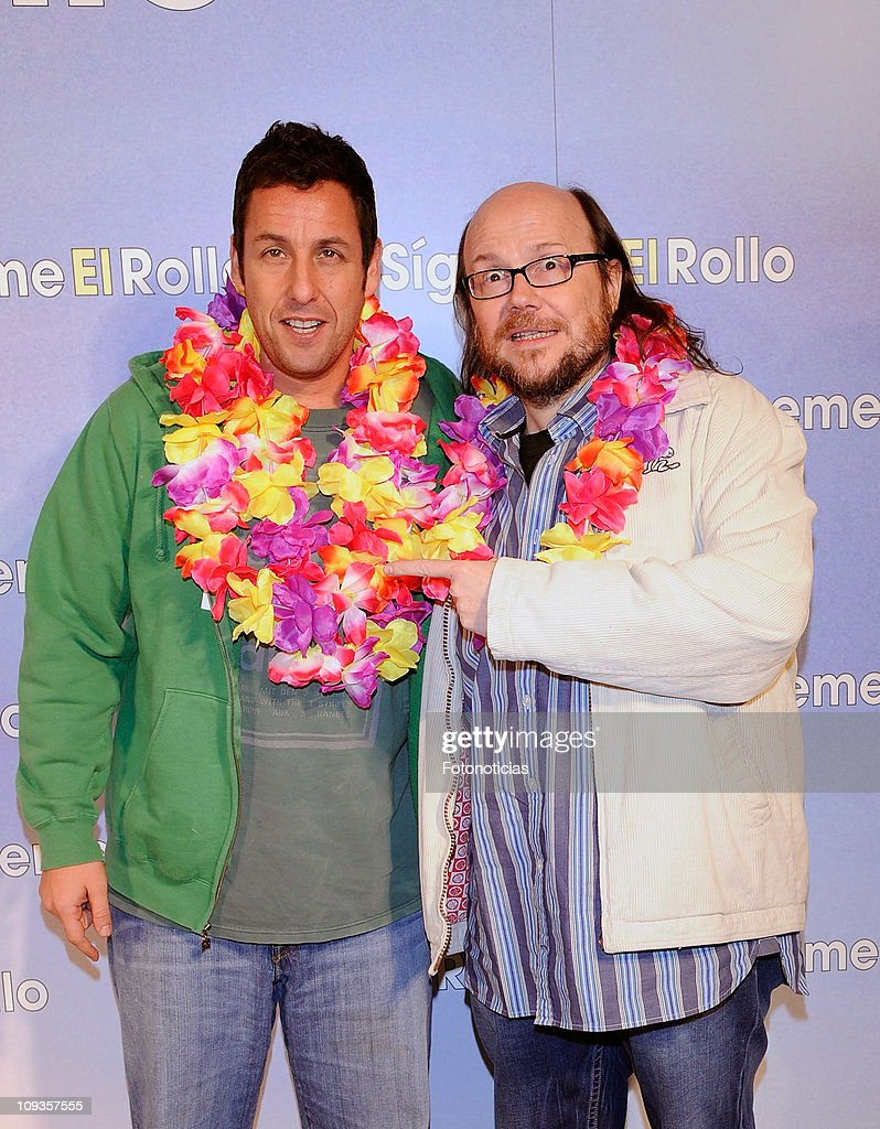 Adam Sandler and Santiago Segura attend the premiere party of 'Sigueme el Rollo' (Just Go With It) at the Room Mate Oscar Hotel on February 22, 2011 in Madrid, Spain.