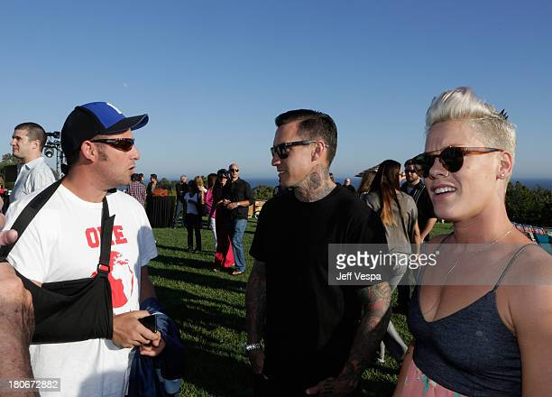 Adam Sandler Carey Hart and Pink attend Eddie Vedder and Zach Galifianakis Rock Malibu Fundraiser for EBMRF and Heal EB on September 15 2013 in...