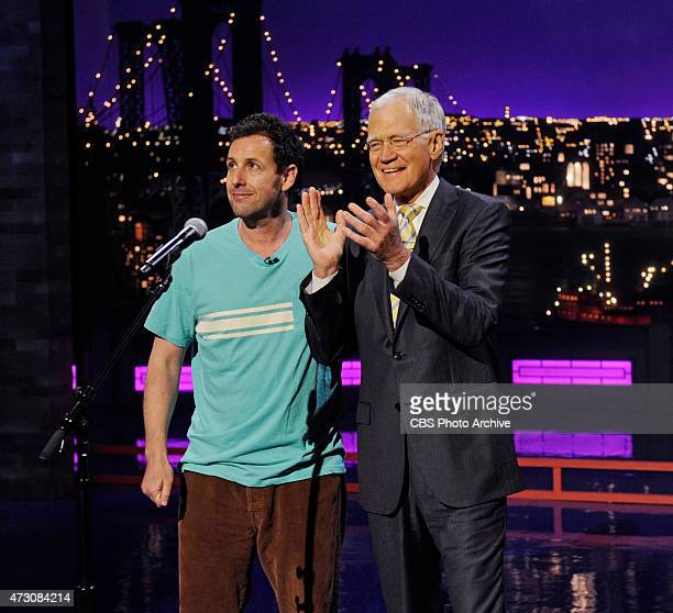 Adam Sandler performs a very special musical tribute for Dave on the Late Show with David Letterman Tuesday May 12 2015 on the CBS Television Network