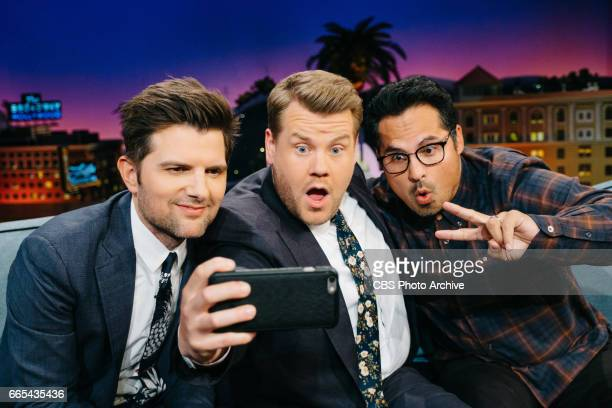 Adam Scott and Michael Pena chat with James Corden during 'The Late Late Show with James Corden' Thursday March 30 2017 On The CBS Television Network