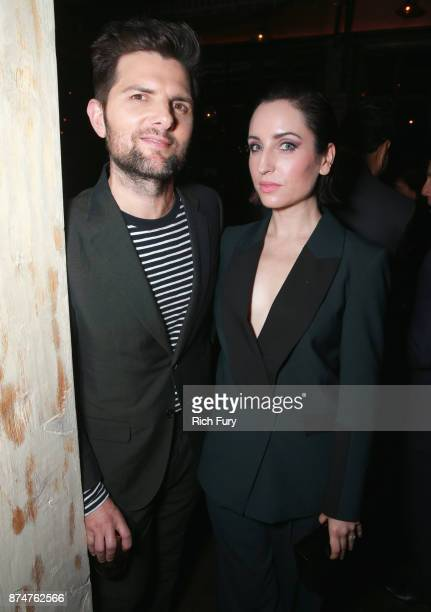 Adam Scott and Zoe ListerJones attend the Hollywood Foreign Press Association and InStyle celebrate the 75th Anniversary of The Golden Globe Awards...