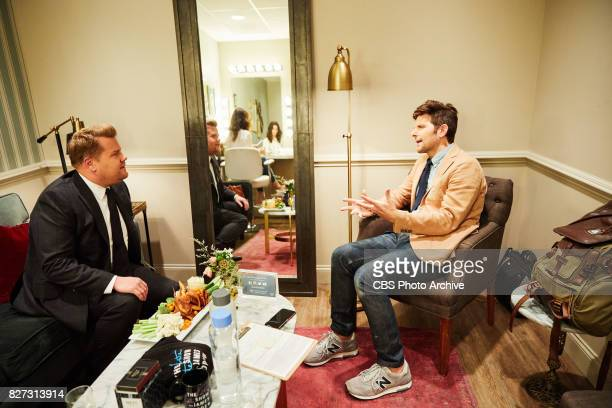 Adam Scott chats in the green room with James Corden during 'The Late Late Show with James Corden' Friday July 28 2017 On The CBS Television Network