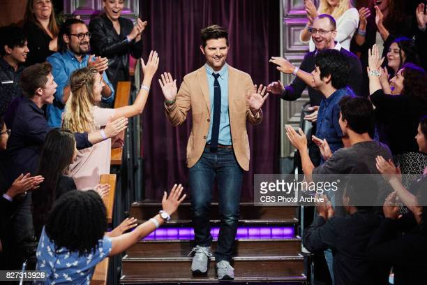 Adam Scott greets the audience during 'The Late Late Show with James Corden' Friday July 28 2017 On The CBS Television Network