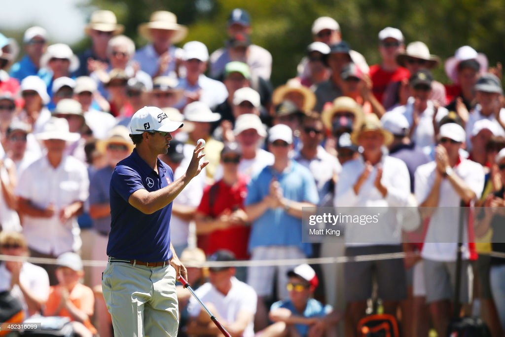 Adam Scott of Australia acknowledges the crowd during day one of the 2013 Australian Open at Royal Sydney Golf Club on November 28, 2013 in Sydney, Australia.