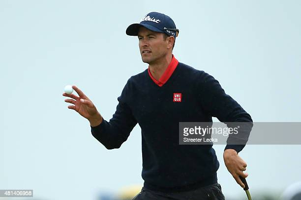 Adam Scott of Australia acknowledges the crowd on the 12th green during the final round of the 144th Open Championship at The Old Course on July 20...