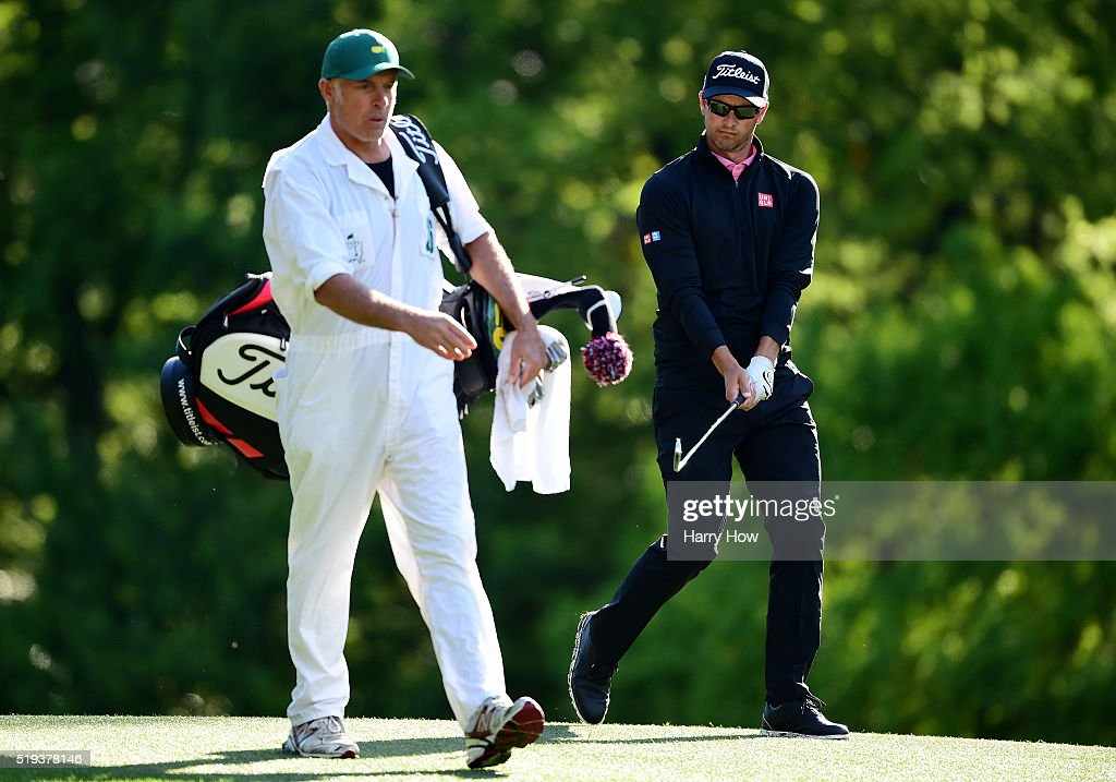 Adam Scott of Australia and caddie Steve Williams walk on the tenth hole during a practice round prior to the start of the 2016 Masters Tournament at Augusta National Golf Club on April 6, 2016 in Augusta, Georgia.