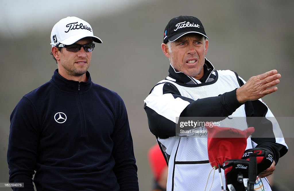 Adam Scott (L) of Australia and his caddie Steve Williams line up a shot on the on the third hole tee box during the first round of the World Golf Championships - Accenture Match Play at the Golf Club at Dove Mountain on February 20, 2013 in Marana, Arizona.
