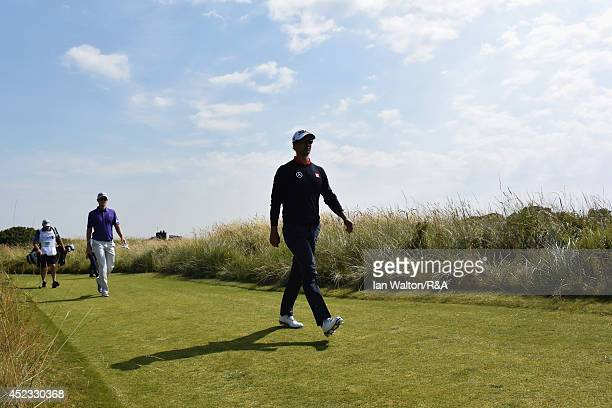 Adam Scott of Australia and Justin Rose of England walk to the sixth green during the second round of The 143rd Open Championship at Royal Liverpool...