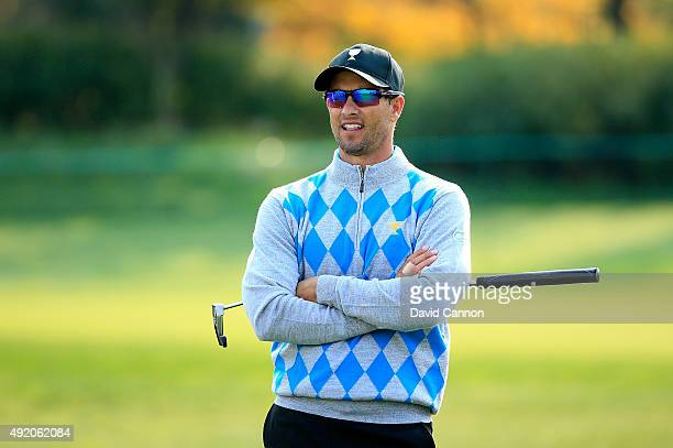 Adam Scott of Australia and the International Team on the seventh hole in his match with Marc Leishman against Bubba Watson and JBHolmes of the...