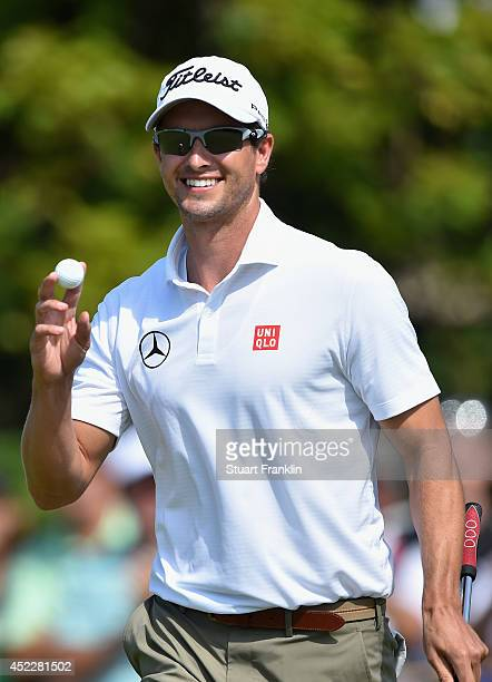 Adam Scott of Australia celebrates a birdie on the fourth hole during the first round of The 143rd Open Championship at Royal Liverpool on July 17...