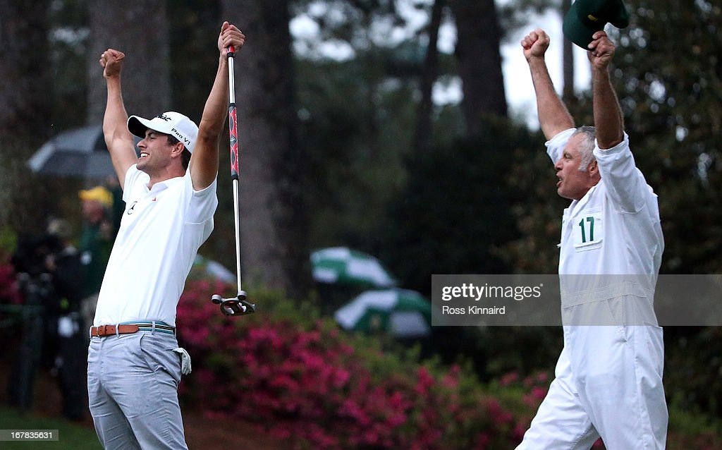 Adam Scott of Australia celebrates after his birdie putt on the second play off hole which saw him win the Green Jacket during the final round of the 2013 Masters at the Augusta National Golf Club on April 14, 2013 in Augusta, Georgia.