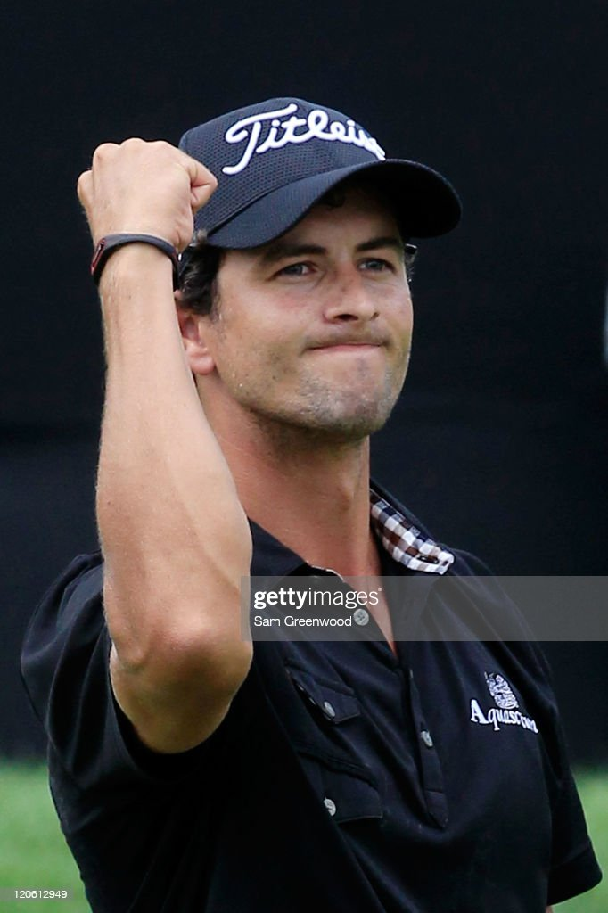 <a gi-track='captionPersonalityLinkClicked' href=/galleries/search?phrase=Adam+Scott+-+Golfer&family=editorial&specificpeople=202039 ng-click='$event.stopPropagation()'>Adam Scott</a> of Australia celebrates on the 18th green after winning the final round of the World Golf Championships-Bridgestone Invitational on the South Course at Firestone Country Club on August 7, 2011 in Akron, Ohio.