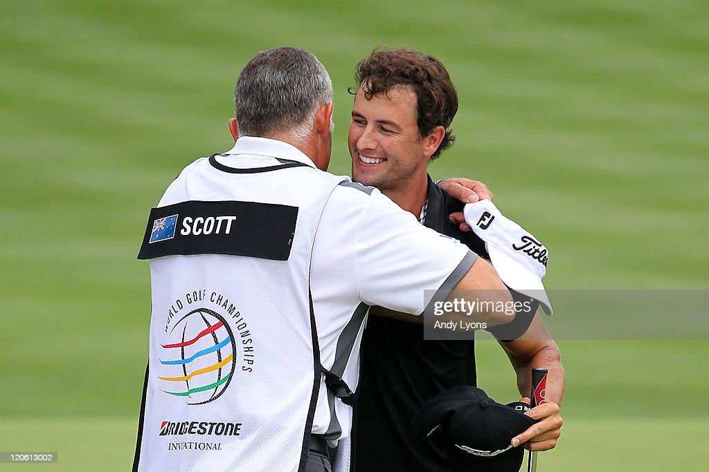 <a gi-track='captionPersonalityLinkClicked' href=/galleries/search?phrase=Adam+Scott+-+Golfer&family=editorial&specificpeople=202039 ng-click='$event.stopPropagation()'>Adam Scott</a> of Australia (R) celebrates on the 18th green with caddie Steve Williams (L) after winning the final round of the World Golf Championships-Bridgestone Invitational on the South Course at Firestone Country Club on August 7, 2011 in Akron, Ohio.