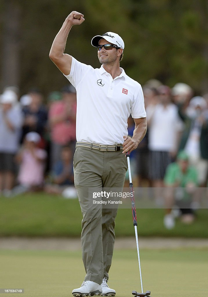Adam Scott of Australia celebrates victory after winning the 2013 Gold Coast PGA Championship during day four of the PGA Royal Pines on November 10, 2013 in Gold Coast, Australia.